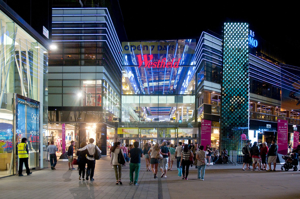 illuminated business signs – Westfield shopping centre
